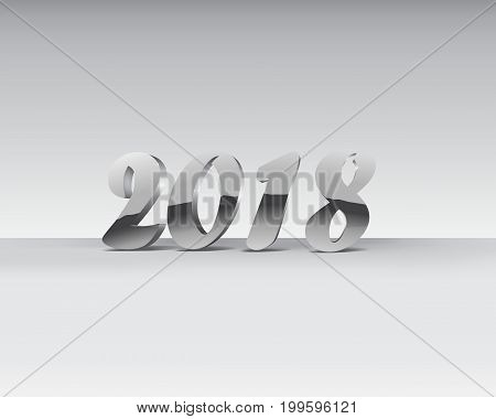 3D Illustration of 2018 silver chrome numbers design. Chrome Shining Pattern. Happy New Year Banner with 2018 Numbers on Gray Background. Vector illustration