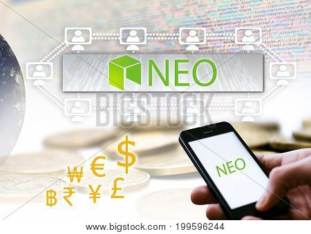 Concept of NEO Coin a Cryptocurrency blockchain platform Digital money