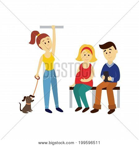 vector adult woman stays holding handrail, man and pregnant woman sits set. Flat cartoon illustration isolated on a white background Public transport - bus underground subway characters concept design