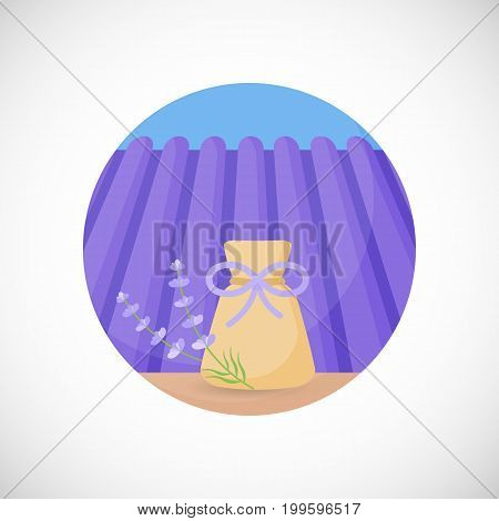 Lavender herbal sachet vector flat icon Flat design of aromatic plant beauty product ingredient herb on the lavender field and sky background vector concept illustration with shadows