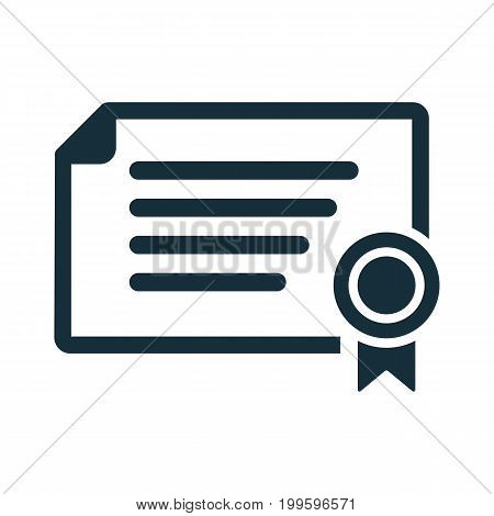 Certificate Diploma Icon On White Background
