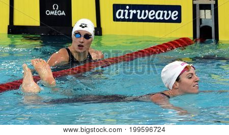 Hong Kong China - Oct 30 2016. Emily SEEBOHM (AUS) and HOSSZU Katinka (HUN) after the Women's Backstroke 100m Final. FINA Swimming World Cup Victoria Park Swimming Pool.