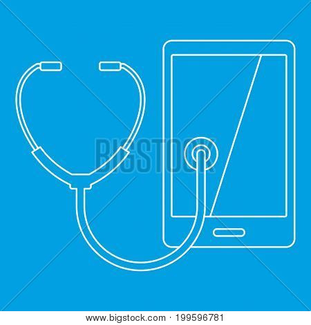 Phone diagnosis icon blue outline style isolated vector illustration. Thin line sign