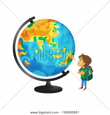 vector cartoon small boy, schoolboy wearing schoolbag looking at big globe studying geography. Isolated flat illustration on a white background. Back to school concept