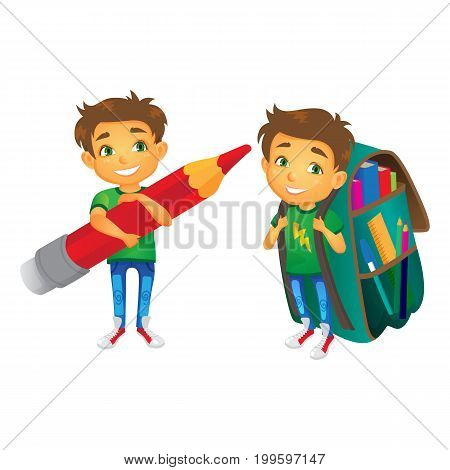 vector cartoon small schoolboy wearing big huge schoolbag full of books smiles, another boy keeping big pencil . Isolated flat illustration on a white background. Back to school concept