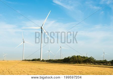 Windmills for electric power production. Wind turbines farm.