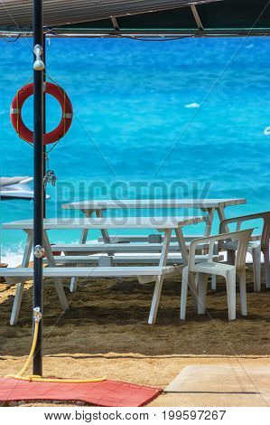 Sun beds on the beach of Manavgat, Turkey