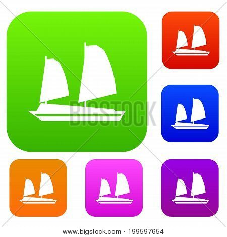 Vietnamese junk boat set icon in different colors isolated vector illustration. Premium collection