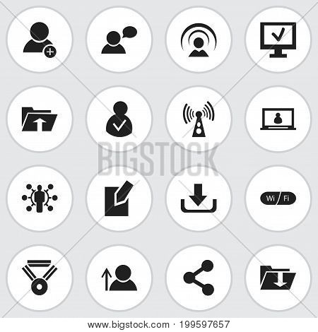 Set Of 16 Editable Web Icons. Includes Symbols Such As Dossier, Connection, Publish And More