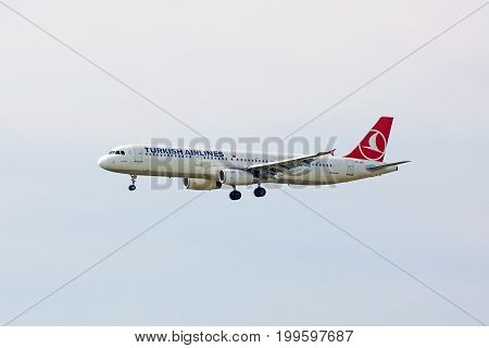Stuttgart Germany - May 06 2017: Turkish Airlines Airbus A321 airplane during landing at airport Stuttgart