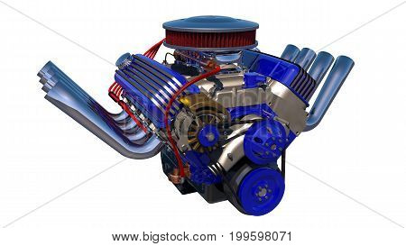 Hot rod engine detailed isolated. 3D render