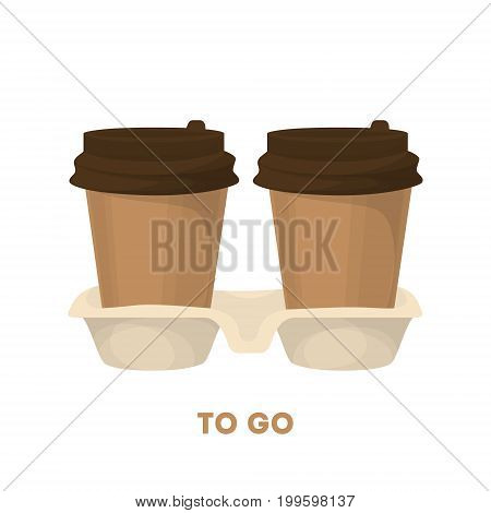 Coffee to go. Two cardboard takeaway cups with fresh hot coffee.