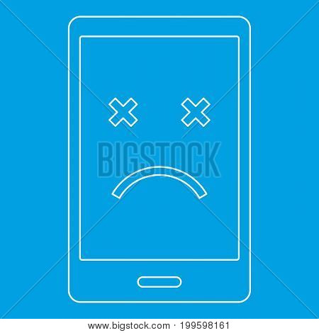 Dead phone icon blue outline style isolated vector illustration. Thin line sign