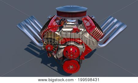 Hot rod engine detailed illustration. 3D render