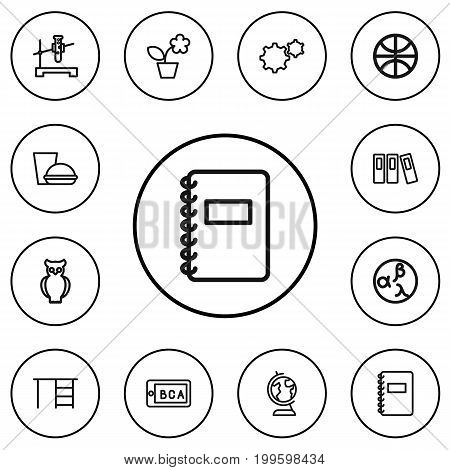 Set Of 12 Editable Education Outline Icons. Includes Symbols Such As Garland, Sport, Classbook