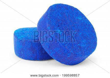 Blue soluble toilet cistern cleaning blocks studio isolated