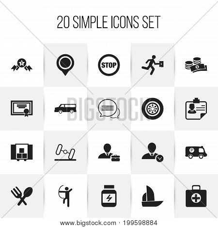 Set Of 20 Editable Mixed Icons. Includes Symbols Such As Employee, Stop, Bowman And More