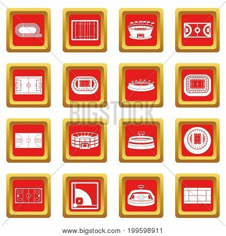 Sport stadium icons set in red color isolated vector illustration for web and any design