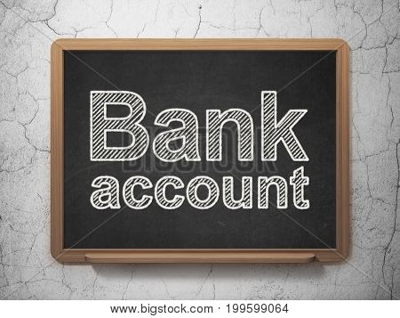Money concept: text Bank Account on Black chalkboard on grunge wall background, 3D rendering