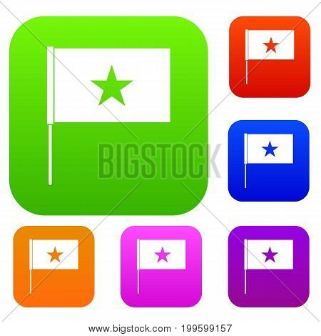 Vietnam flag set icon in different colors isolated vector illustration. Premium collection