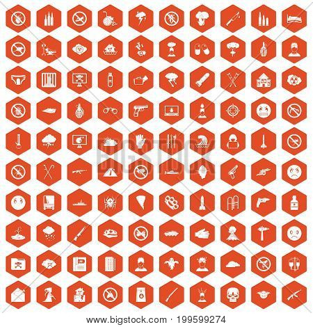 100 tension icons set in orange hexagon isolated vector illustration