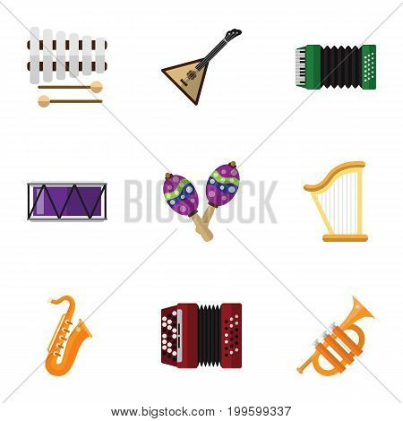 Set Of 9 Editable Melody Flat Icons. Includes Symbols Such As Harmonica, Tuba, Beanbag And More