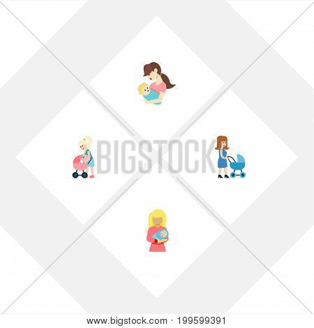 Flat Icon Parent Set Of Perambulator, Child, Kid And Other Vector Objects