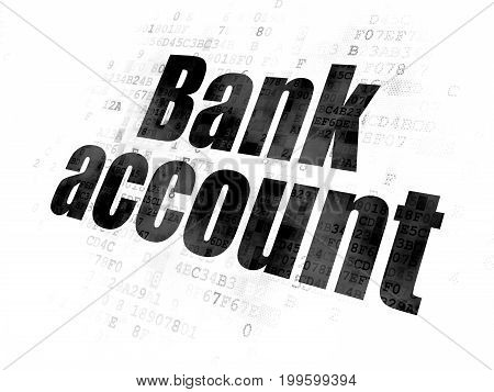 Currency concept: Pixelated black text Bank Account on Digital background