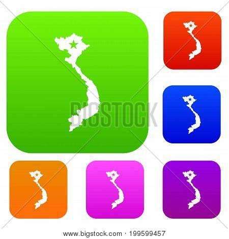 Vietnam map set icon in different colors isolated vector illustration. Premium collection