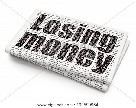 Currency concept: Pixelated black text Losing Money on Newspaper background, 3D rendering
