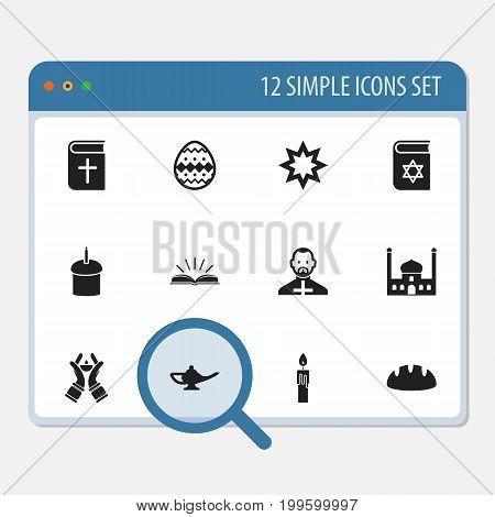 Set Of 12 Editable Religion Icons. Includes Symbols Such As Chapel, Pope, Asterisk And More