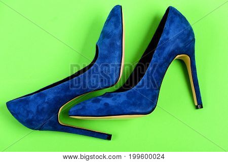 Shoes In Dark Blue Color. Pair Of Suede Female Shoes