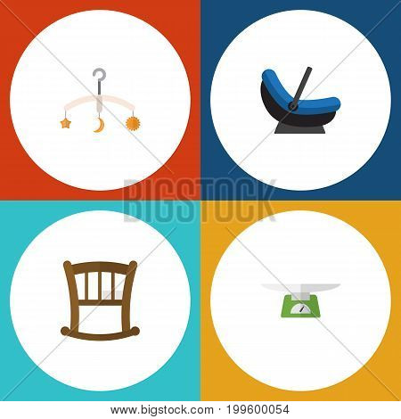 Flat Icon Infant Set Of Infant Cot, Pram, Children Scales And Other Vector Objects