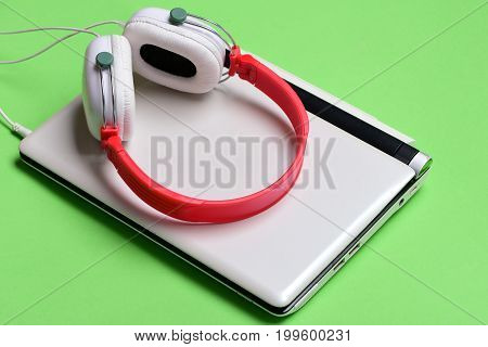 Sound Recording Idea. Electronics On Green Background. Digital Equipment Concept