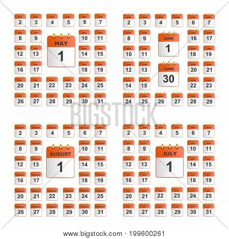 Universal set of wall calendar. The icons in red color. From May to August. The template is perfect for all your events, holidays, as a reminder etc. Vector illustration. Square location.