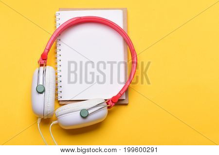 Headset For Music And Blank Page With Copy Space