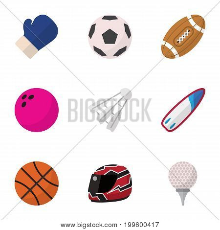 Set Of 9 Editable Active Flat Icons. Includes Symbols Such As Golf-Course, Touchdown, Kegling And More