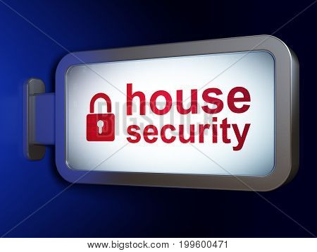 Security concept: House Security and Closed Padlock on advertising billboard background, 3D rendering