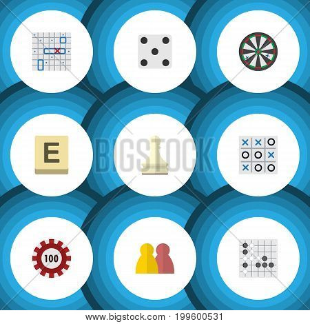 Flat Icon Play Set Of X-O, Sea Fight, Gomoku And Other Vector Objects