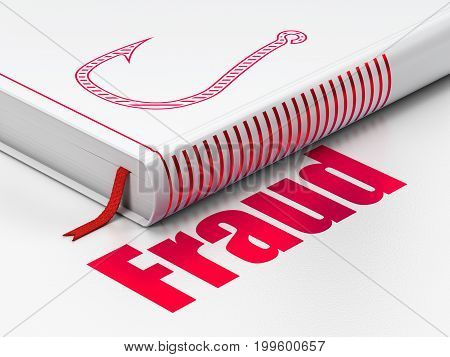 Safety concept: closed book with Red Fishing Hook icon and text Fraud on floor, white background, 3D rendering