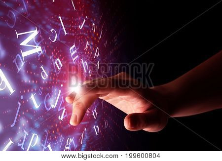 Female finger touching a beam of light surrounded by a pink background with alphabet letters