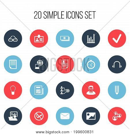 Set Of 20 Editable Office Icons. Includes Symbols Such As File, World, Document And More