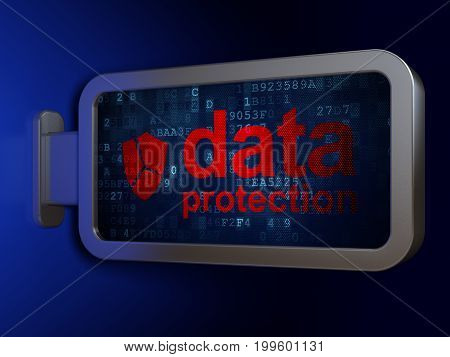 Security concept: Data Protection and Broken Shield on advertising billboard background, 3D rendering