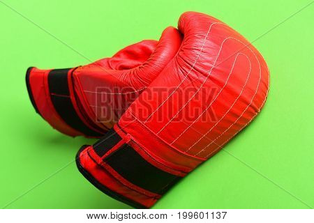 Training And Fitness Concept. Boxing Gloves In Red. Sport Equipment