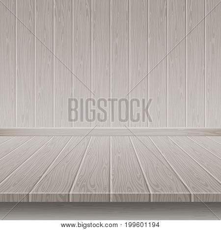 Grey wooden wall and floor. Empty room with wooden floor and wall. Vector illustration