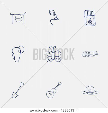 Set Of 9 Editable Trip Doodles. Includes Symbols Such As Shovel, Campfire Cooking, Flying Toy And More
