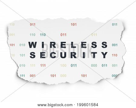 Security concept: Painted black text Wireless Security on Torn Paper background with  Binary Code