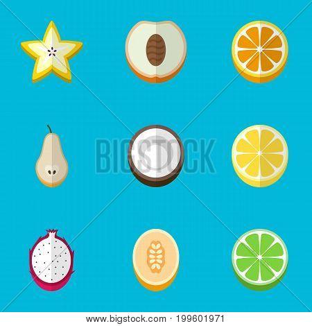 Set Of 9 Editable Fruits Flat Icons. Includes Symbols Such As Pitaya, Mandarins, Nectarine