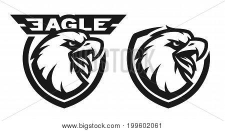 Head of the eagle, monochrome logo. Two versions