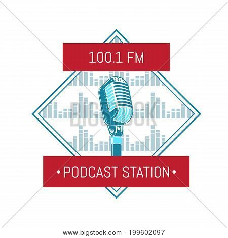 Vector podcast station logo with microphone on sound waves background. Radio station retro vintage label illustration